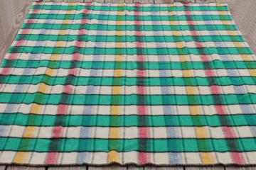 vintage plaid wool camp blanket, candy pink blue yellow jade green black bed blanket