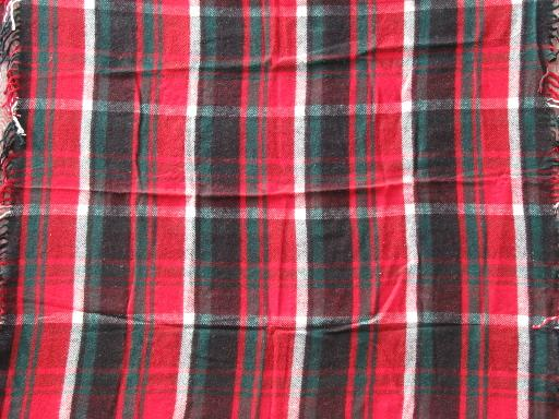 vintage plaid wool stadium throw / camp blanket, for picnic or camping