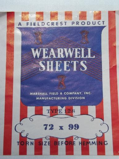 vintage plain white cotton flat bed sheets, new w/ original labels