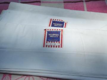vintage plain white cotton flat bed sheets, new w/ original labels