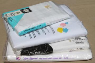 vintage plain white cotton sheets & pillowcases, never used in original packages