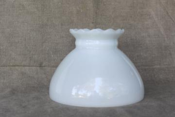 vintage plain white milk glass replacement shade for student lamp, table lamp