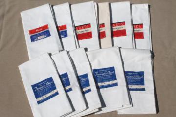 vintage plain white pure cotton pillowcases, lot one dozen deadstock pillow cases w/ paper labels