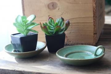 vintage plainsman green matte glaze red clay pottery candle holders or planter dishes
