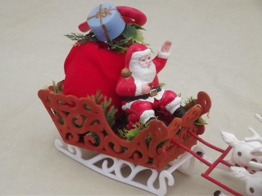 vintage plastic santa and 8 reindeer sleigh christmas tabletop decoration - Vintage Plastic Christmas Decorations