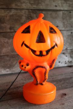 vintage plastic blow mold Halloween jack-o-lantern pumpkin & cat electric light window decor
