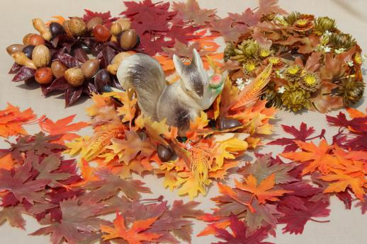 vintage plastic flowers autumn leaves a squirrel fall harvest