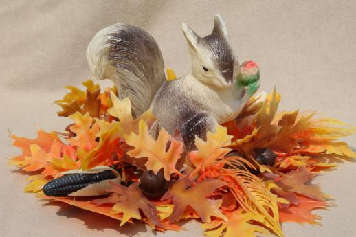 vintage plastic flowers, autumn leaves & a squirrel - fall harvest holiday party decorations