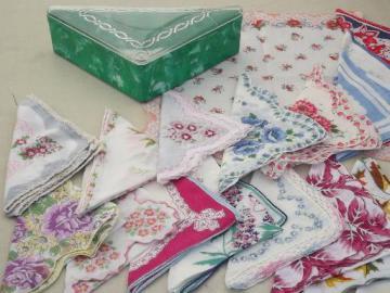 vintage plastic hanky box & flowered print cotton  vintage hankies