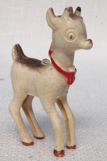 vintage plastic novelty christmas ornament toy old rudolph the red nosed reindeer