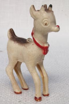 vintage plastic novelty Christmas ornament toy, old Rudolph the Red Nosed Reindeer