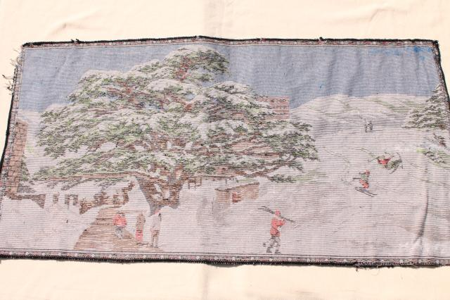 vintage plush tapestry wall hanging rug, cabin rustic winter scene cross-country skiers