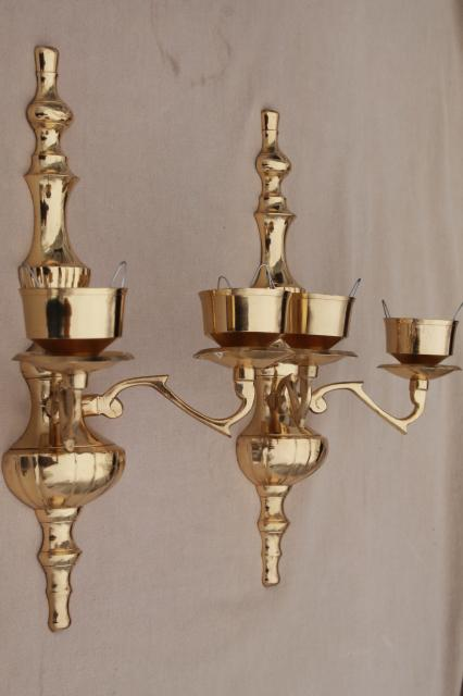 Vintage Polished Brass Candle Sconces Wall Sconce Set W