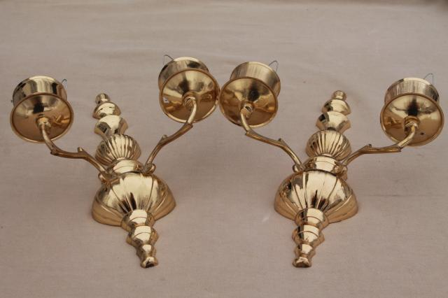 vintage polished brass candle sconces, wall sconce set w/ crackle glass hurricane shades