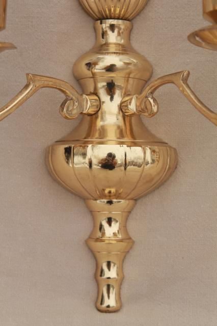 Vintage Polished Brass Candle Sconces Wall Sconce Set W