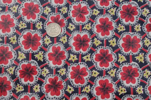 vintage polished cotton chintz fabric, cheerful red ...