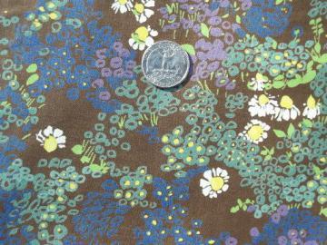 vintage polished cotton fabric, alpine flowers print on coffee brown