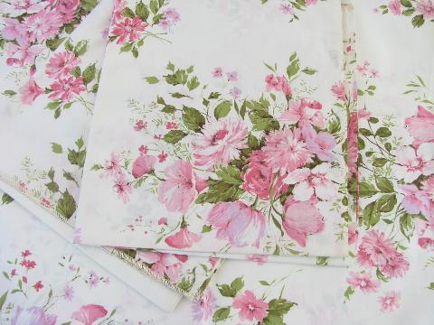 Vintage Polished Cotton Glazed Floral Print Chintz Fabric