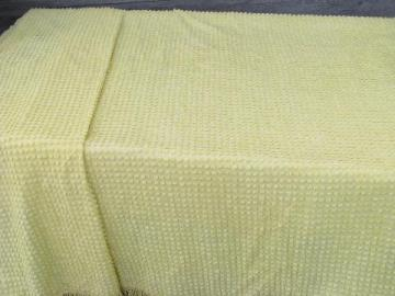vintage popcorn chenille cotton bedspread, 1950s-60s butter yellow