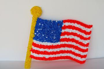 vintage popcorn melted plastic American flag 4th of July patriotic decoration
