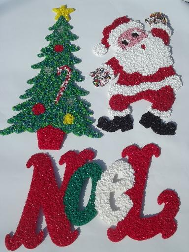 Vintage Popcorn Plastic Holiday Decorations Dancing Santa
