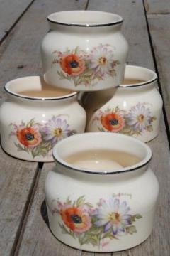 vintage poppy Universal pottery oven proof bean pots, set of 4 single serving crocks