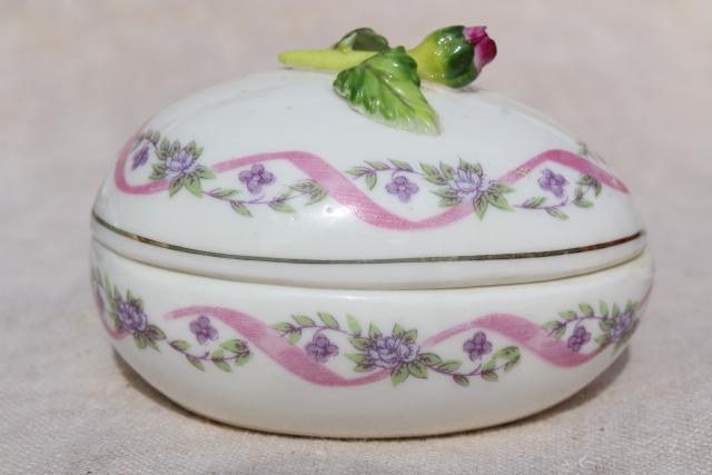 vintage porcelain egg shaped trinket boxes, collection of Easter eggs w/ painted flowers