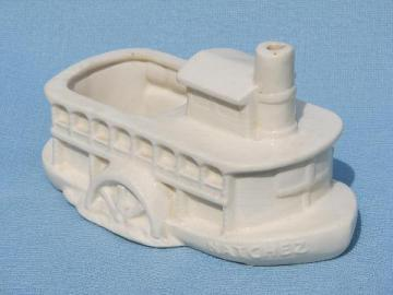 vintage pottery Mississippi river boat planter, steamboat Natchez