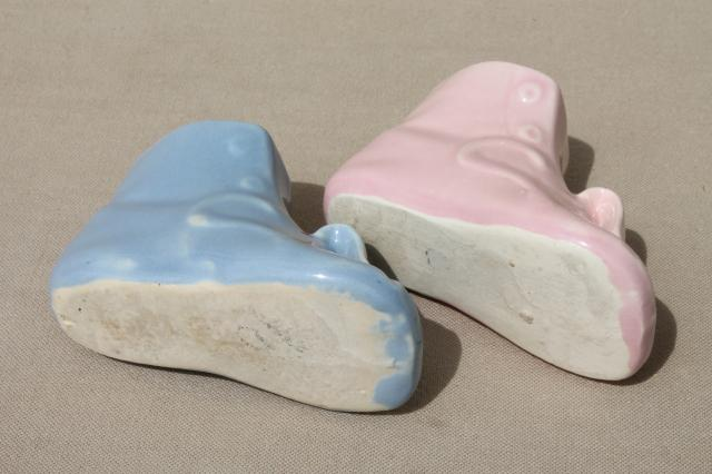 vintage pottery baby shoe vases, little pink & blue boots planter pots