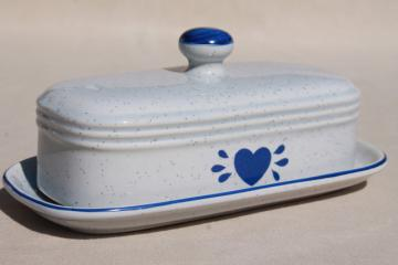vintage pottery covered butter dish, country kitchen blue heart speckled stoneware