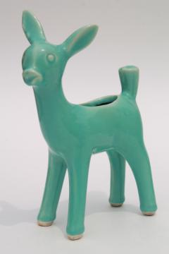 vintage pottery deer planter, aqua turquoise doe or fawn mid-century mod