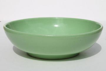 vintage pottery mixing bowl or large salad bowl, retro 1950s mint green color