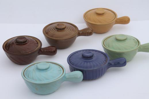 vintage pottery onion soup bowls, stick handle casserole dishes w/ lids