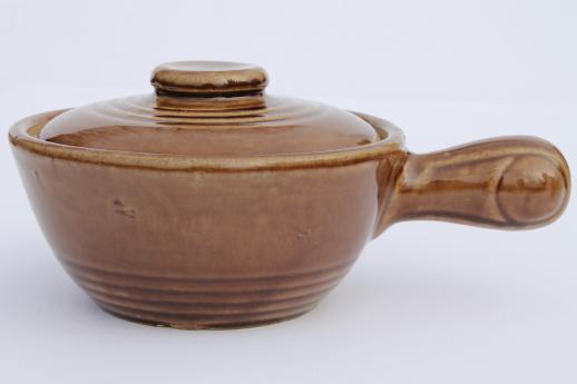 Best vintage pottery onion soup bowls, stick handle casserole dishes w  AG34