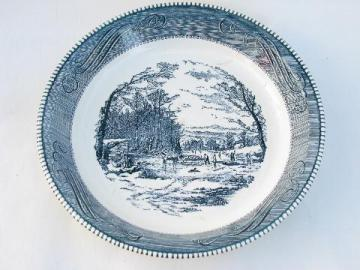 vintage pottery pie plate, blue & white Currier and Ives scene, Royal china