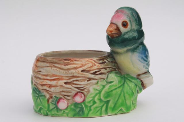 Vintage Pottery Planter W Small Parrot Bird Hand Painted
