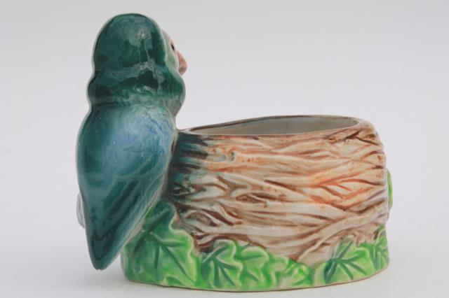 vintage pottery planter w/ small parrot bird, hand painted ceramic made in Japan