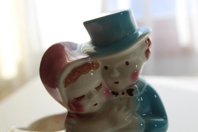 vintage pottery planter, sweet baby childhood sweethearts couple retro wedding decor