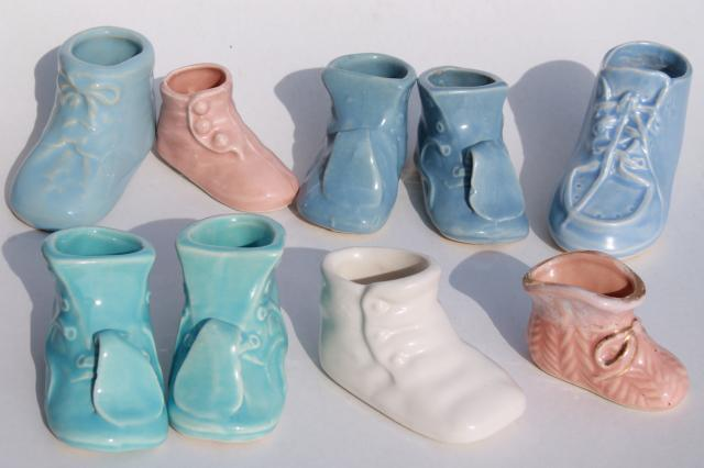 Vintage Pottery Planters Collection Of Pink Blue Shoes