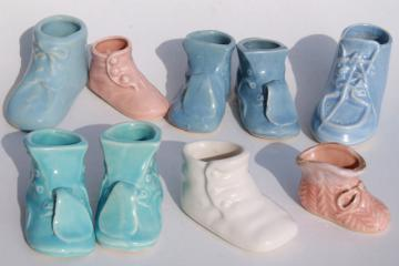 vintage pottery planters, collection of pink & blue shoes booties, baby shower decorations