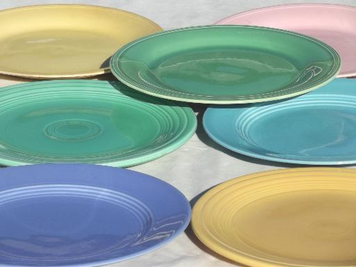 & vintage pottery plates in pretty pastels shabby cottage kitchen dishes