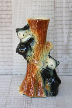 vintage pottery vase w/ bear cubs in tree, rustic north woods cabin camp decor