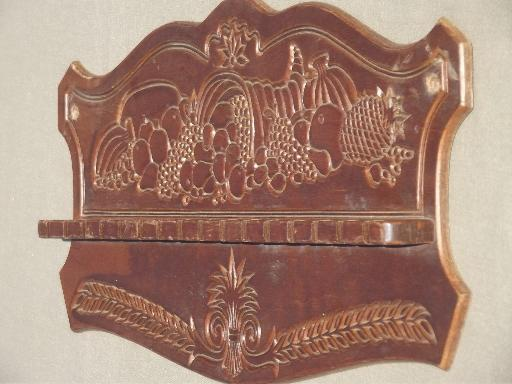 vintage pressback wood spoon holder wall rack, cornucopia horn of plenty