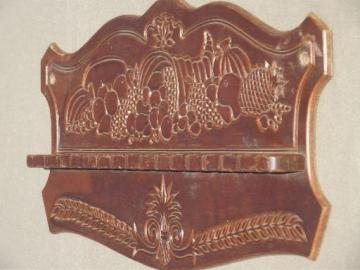 vintage pressback wood spoon holder wall rack, cornucopia horn of plenty