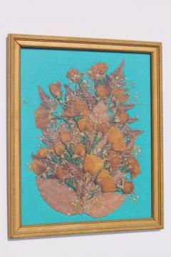 vintage pressed flower picture, collage of dried flowers, roses floral bouquet