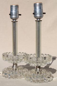 vintage pressed glass boudoir lamps, 50s hollywood regency vanity lamp set