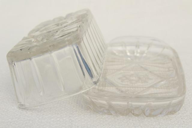 vintage pressed glass butter dish, Anchor Hocking prescut plate & cover