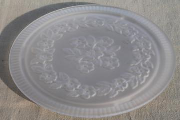 vintage pressed glass cake plate or tray plateau, clear frosted satin glass