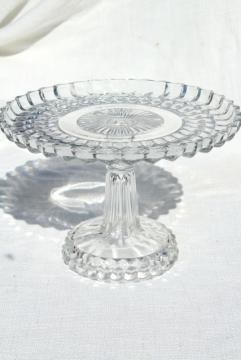 vintage pressed glass cake stand, bullseye pattern pedestal plate in crystal clear glass