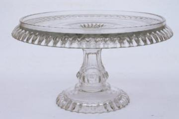 vintage pressed glass cake stand, crystal clear pattern glass pedestal dessert plate